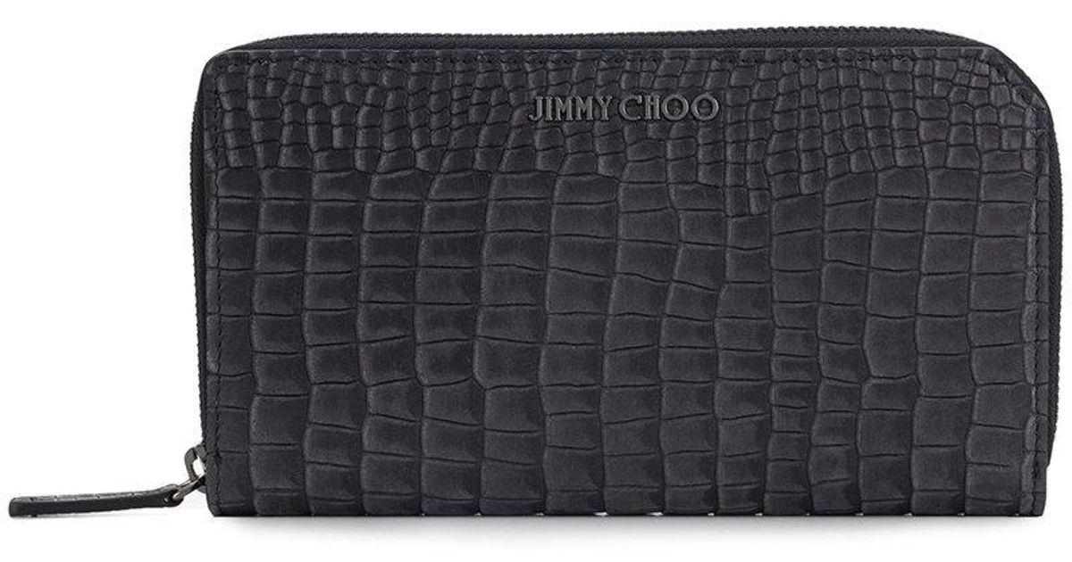 Jimmy choo DEAN Porte-cartes en cuir à texture crocodile VLBowAKNSH