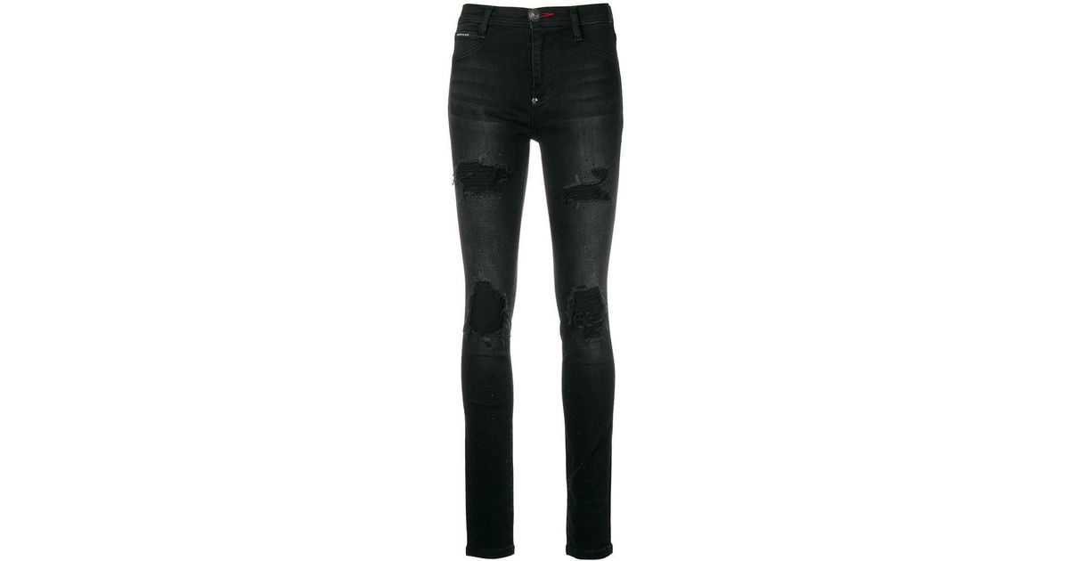 a0be4f6310496 Lyst - Philipp Plein Embellished Skinny Jeans in Black