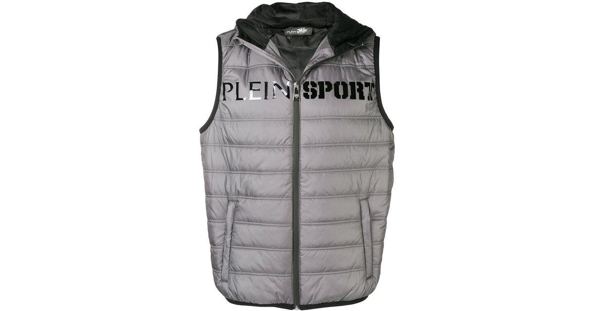 94705713ded9 Lyst - Philipp Plein Logo Print Puffer Vest in Gray for Men