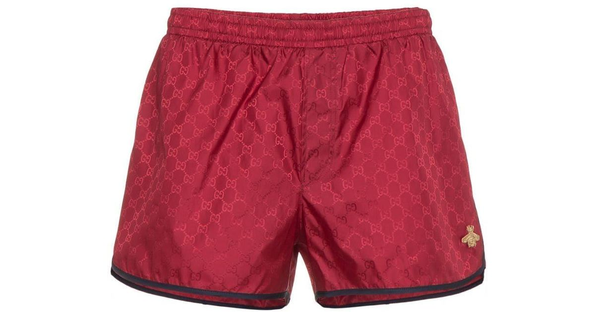 f84433dc6221 Lyst - Gucci Red GG Monogram Swimshorts in Red for Men