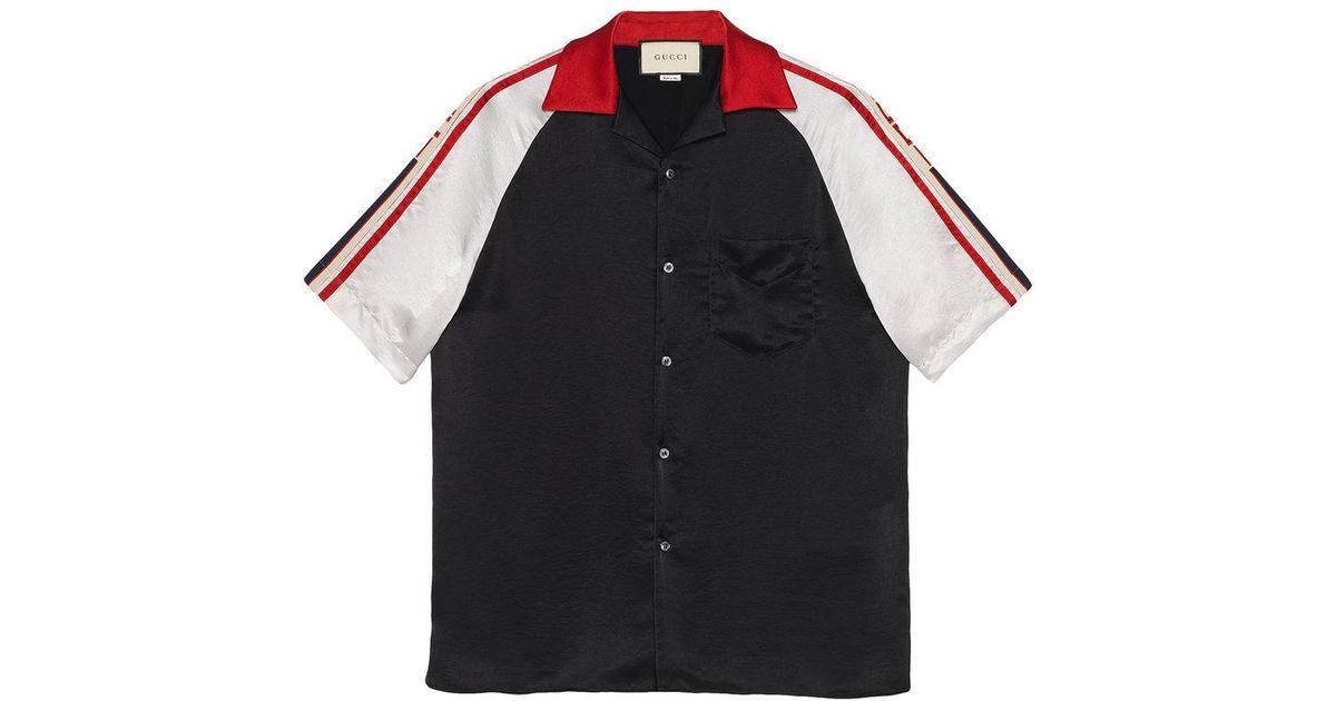 Lyst - Camisa bowling con detalles de rayas Gucci de hombre de color Negro bda2e603cd0