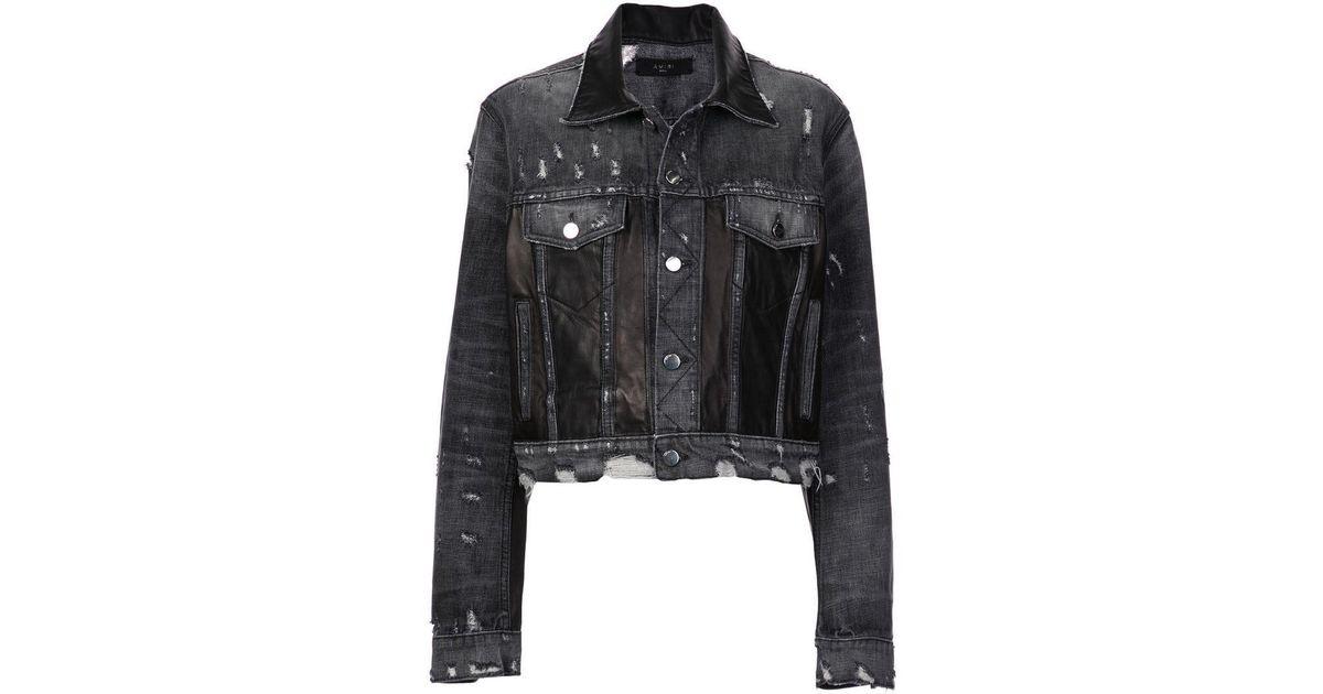 2033260aeb Lyst - Amiri Distressed Paneled Denim Jacket in Black