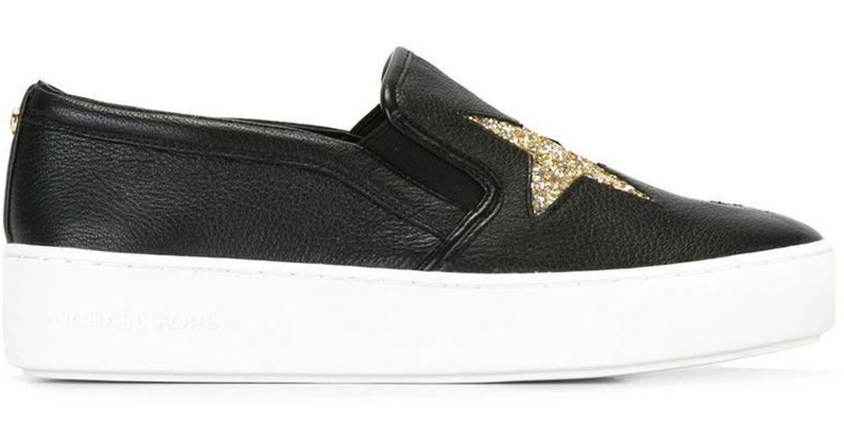6689b0892a0a3 Lyst - MICHAEL Michael Kors Pia Slip-on Star Sneakers in Black