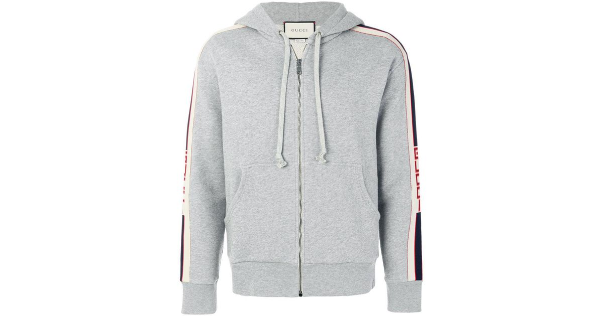 25689859e72 Lyst - Gucci Banded Zip Hoodie in Gray for Men