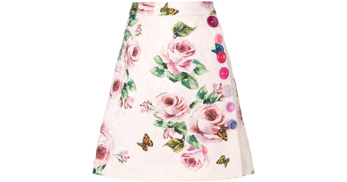 a21da3125f Dolce & Gabbana Brocade Rose Printed Skirt in Pink - Lyst