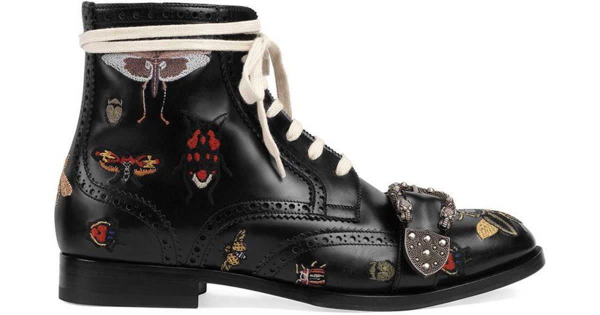 723025bb4b8 Gucci Queercore Embroidered Brogue Boots in Black - Lyst