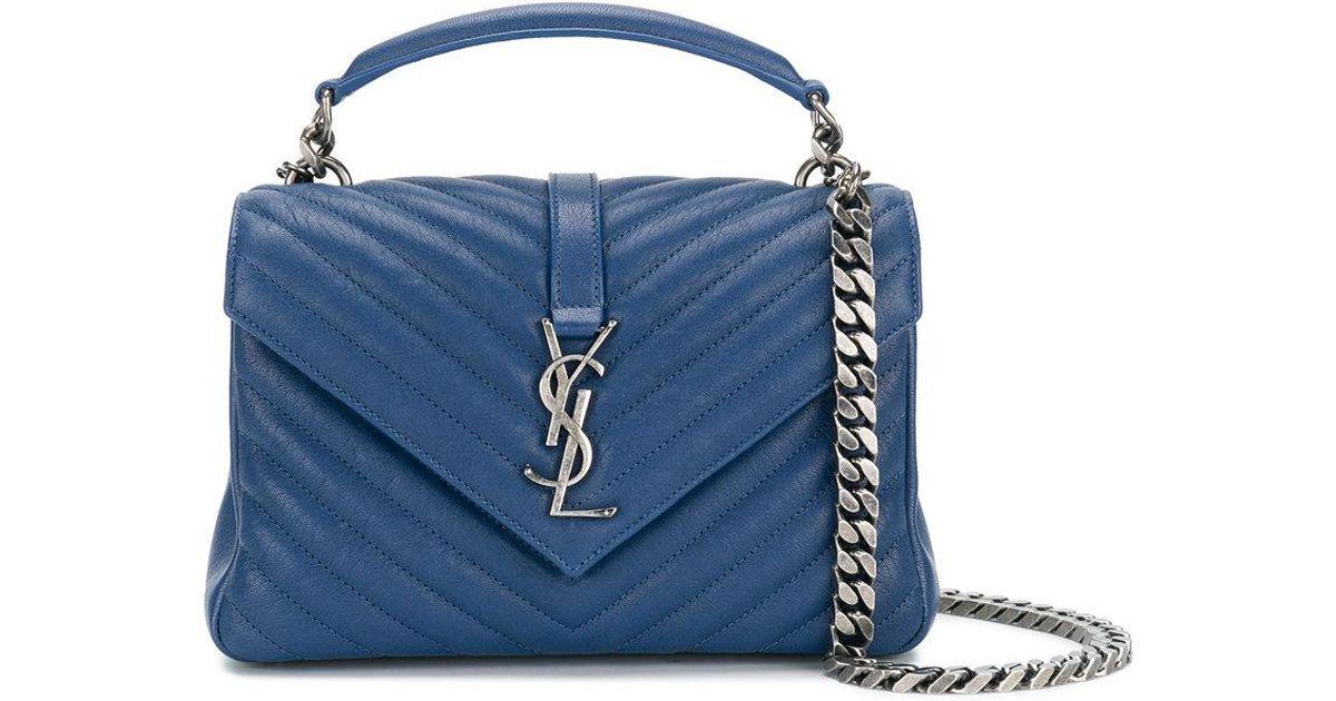 65ecdd7ee2 Sac porté épaule Collège Monogramme médium Saint Laurent en coloris Bleu -  Lyst