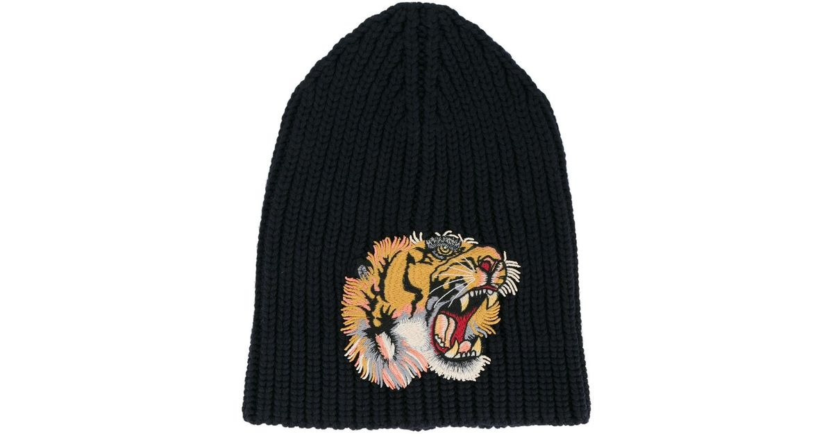 Lyst - Gucci Tiger Patch Beanie Hat in Blue for Men a904764790d