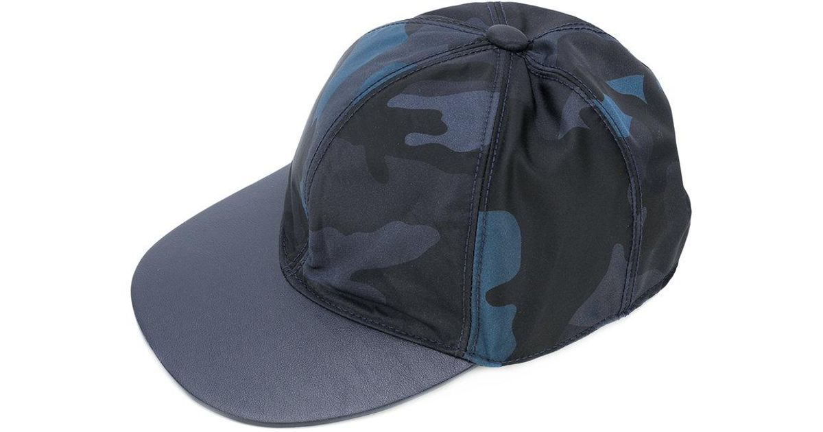 Valentino Camouflage Hat in Blue - Lyst 64ed5e520c5