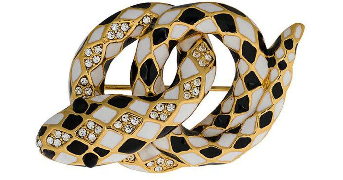 Marc Jacobs Snake Brooch in Black Brass 9hcZ7vv5