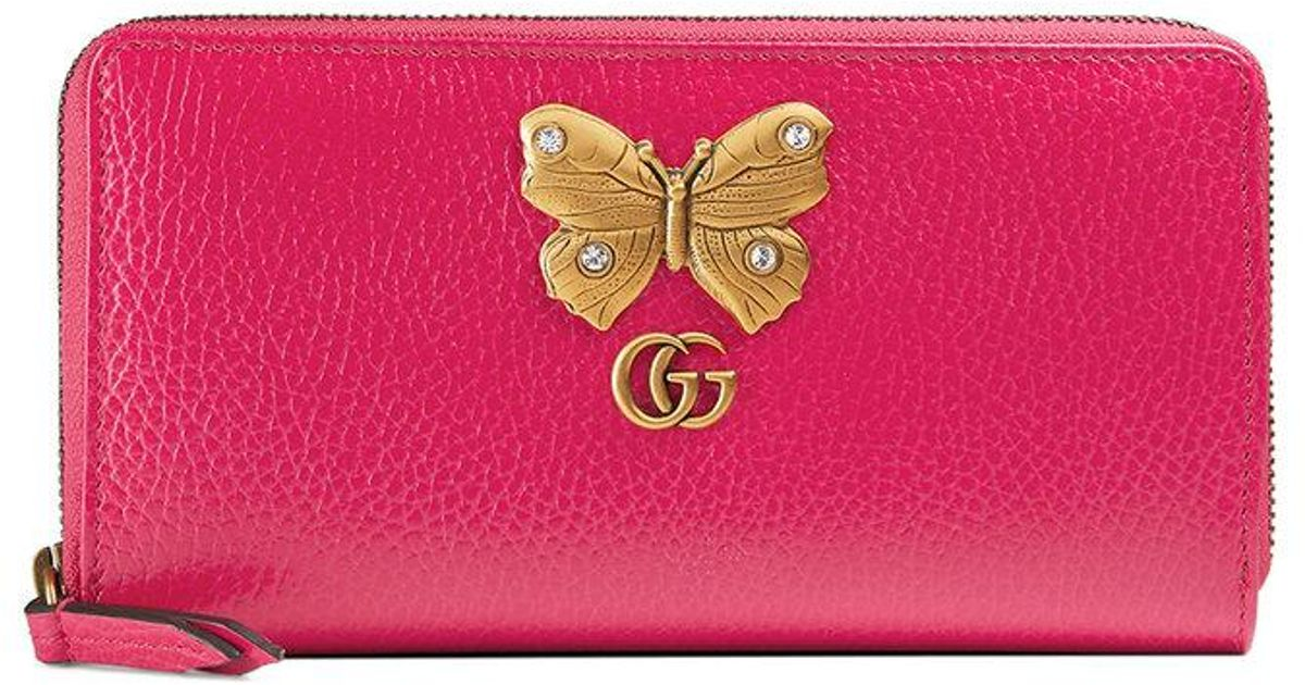 11b36d370d09 Lyst - Gucci Leather Zip Around Wallet With Butterfly in Pink