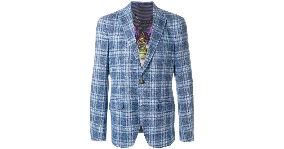 Buy Cheap In China Etro plaid fitted blazer - Blue Outlet 100% Authentic Outlet 2018 Unisex Release Dates Cheap Online x44kSXU0Yt
