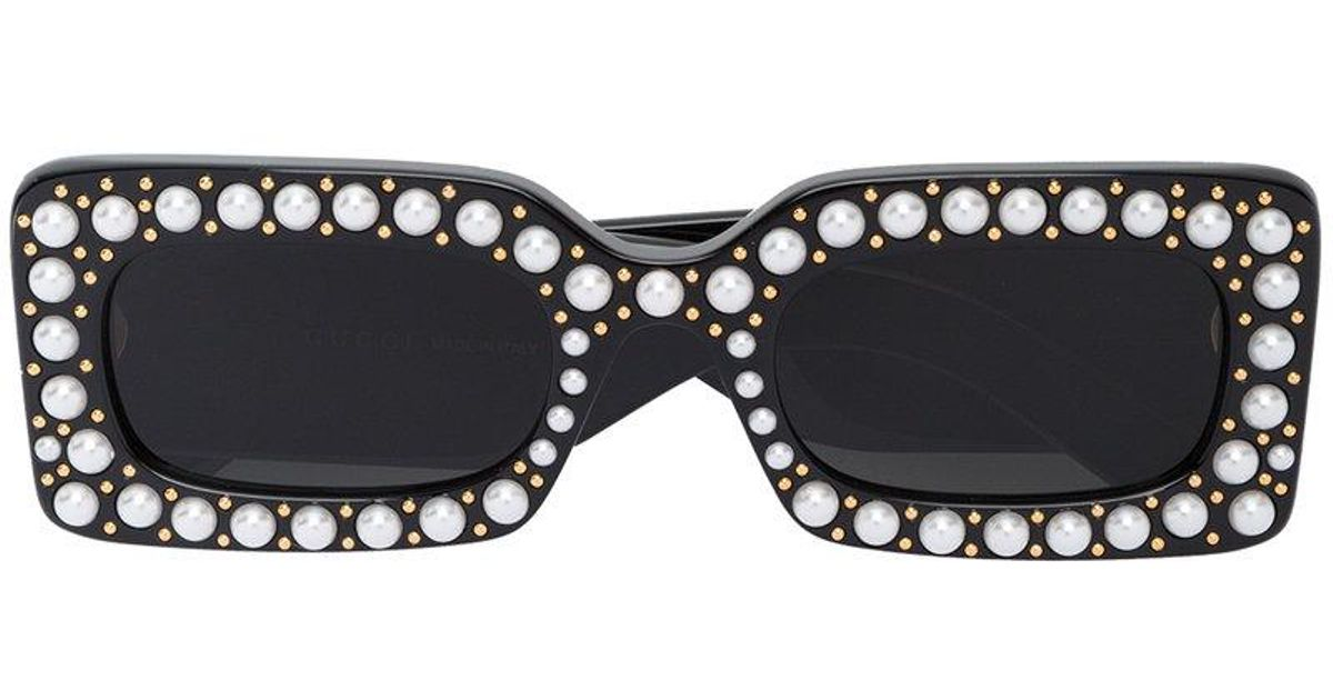 9eb96b9ea0f Gucci Hollywood Forever Faux Pearl Embellished Sunglasses in Black - Lyst