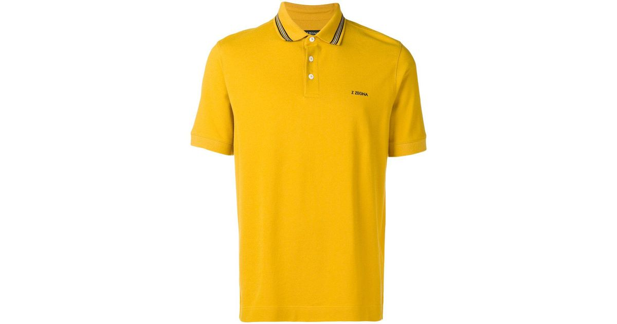 8eb5636bd6 Z Zegna Contrast Logo Polo Shirt in Yellow for Men - Lyst
