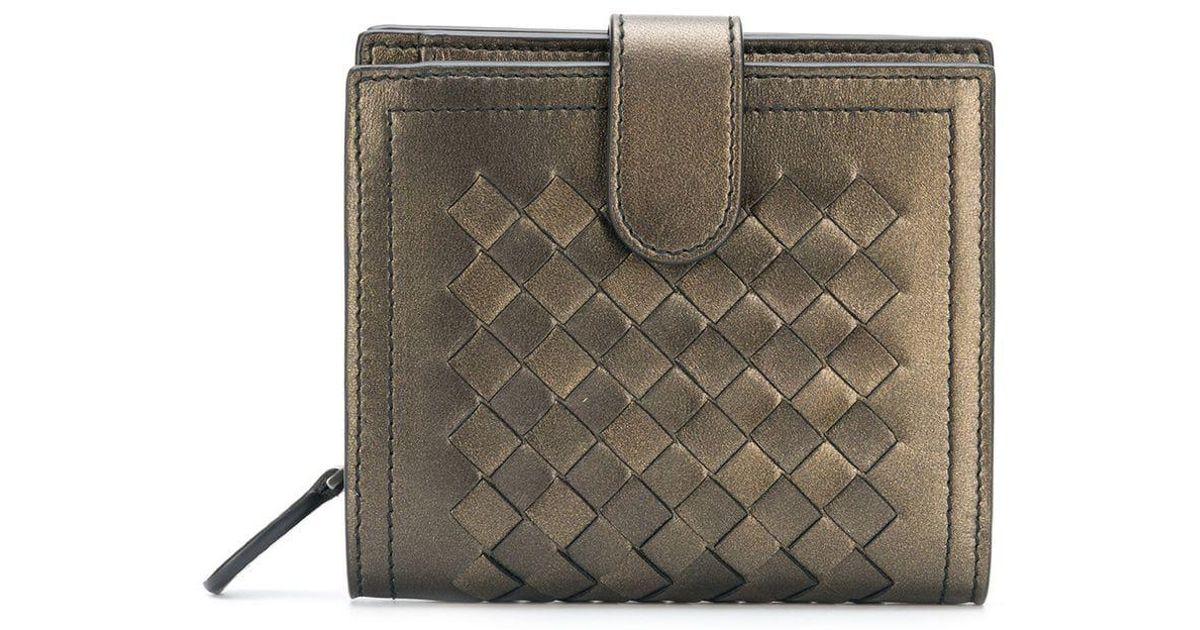 617829dd24b4 Lyst - Bottega Veneta Intrecciato Woven Wallet in Metallic