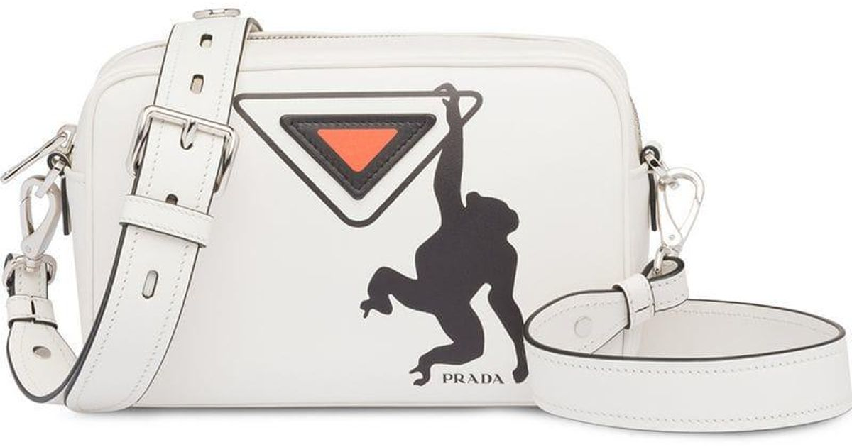 3401235df452 Prada White Monkey Logo Print Leather Shoulder Bag in White - Lyst