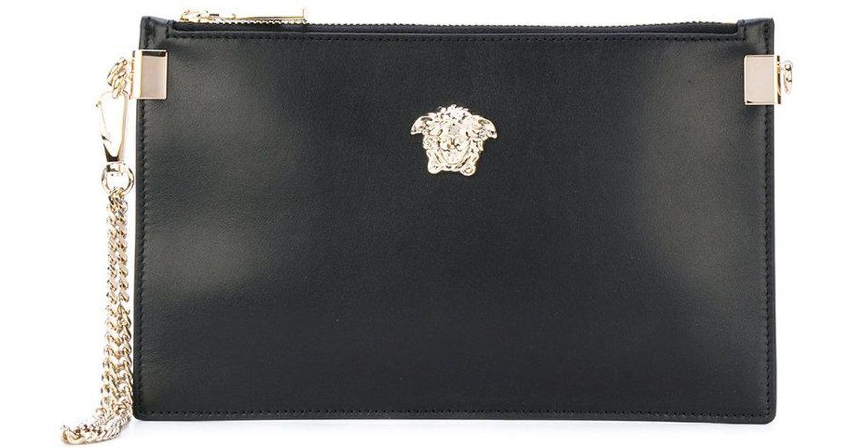 2b2b114f4559 Lyst - Versace Medusa Palazzo Clutch Bag in Black