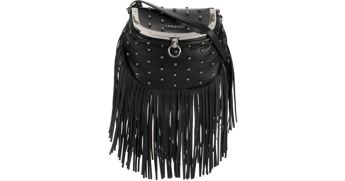 Versace Studded Fringe Crossbody Bag in Black - Lyst aed96c632146e
