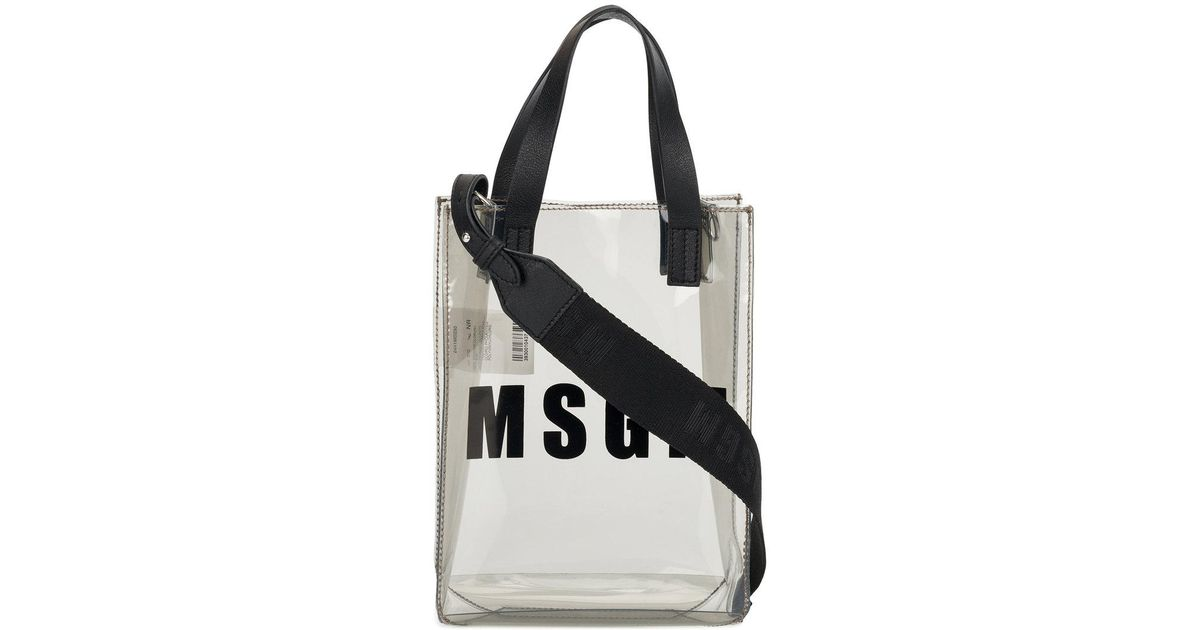 8f9d0b1afc MSGM Small Branded Tote Bag in Gray - Lyst