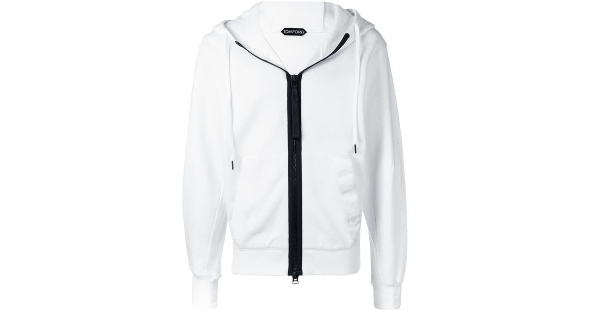 f1f97476317 Tom Ford Contrast Zip Hoodie in White for Men - Lyst