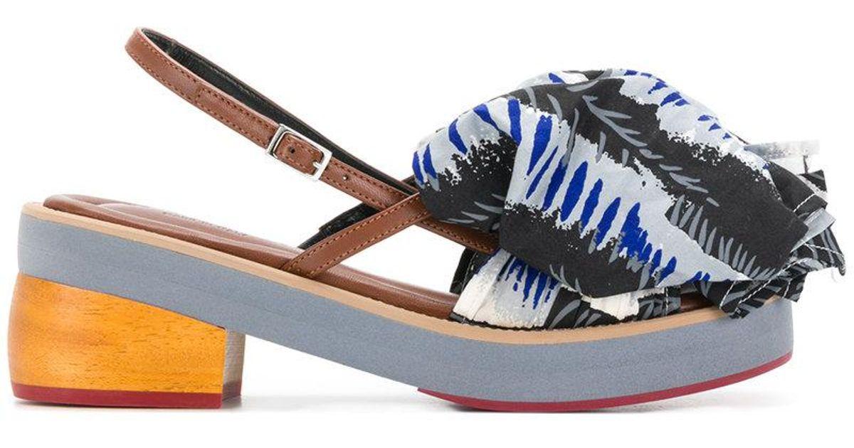 printed ruffle front sandals - Multicolour Marni sPSyi2n6o