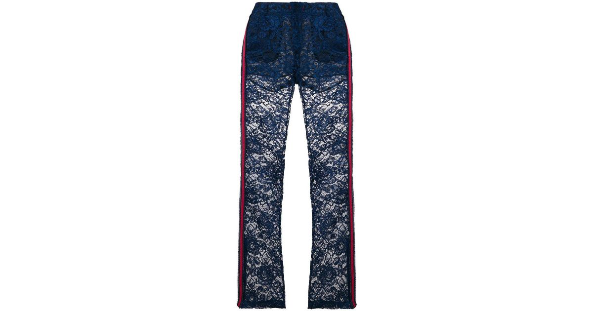 lace flared trousers - Blue Ainea