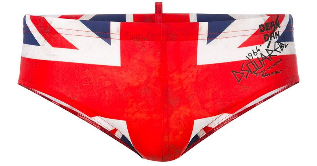 ee00c35295 DSquared² Union Jack Swimming Trunks in Red for Men - Lyst