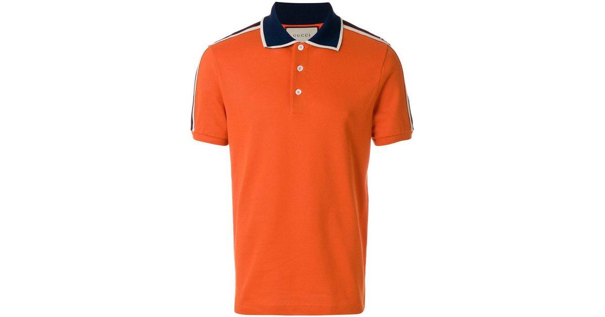 bc27b709 Gucci Stripe Polo Shirt in Orange for Men - Lyst