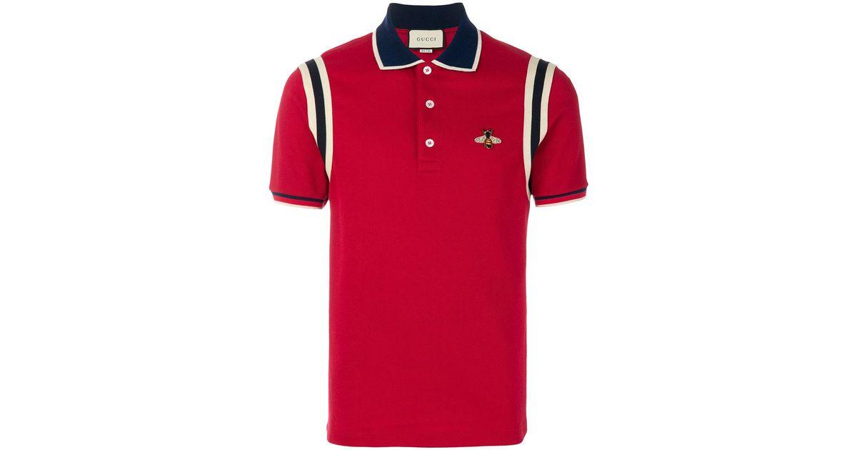 9edb29c4f06 Gucci Men's Cotton Polo With Bee - Black Multi in Red for Men - Lyst