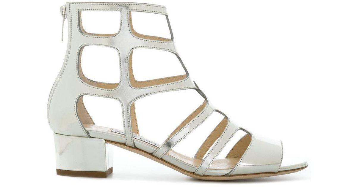 7224a700ee0 Jimmy Choo Ren 35 Caged Sandals in Metallic - Lyst