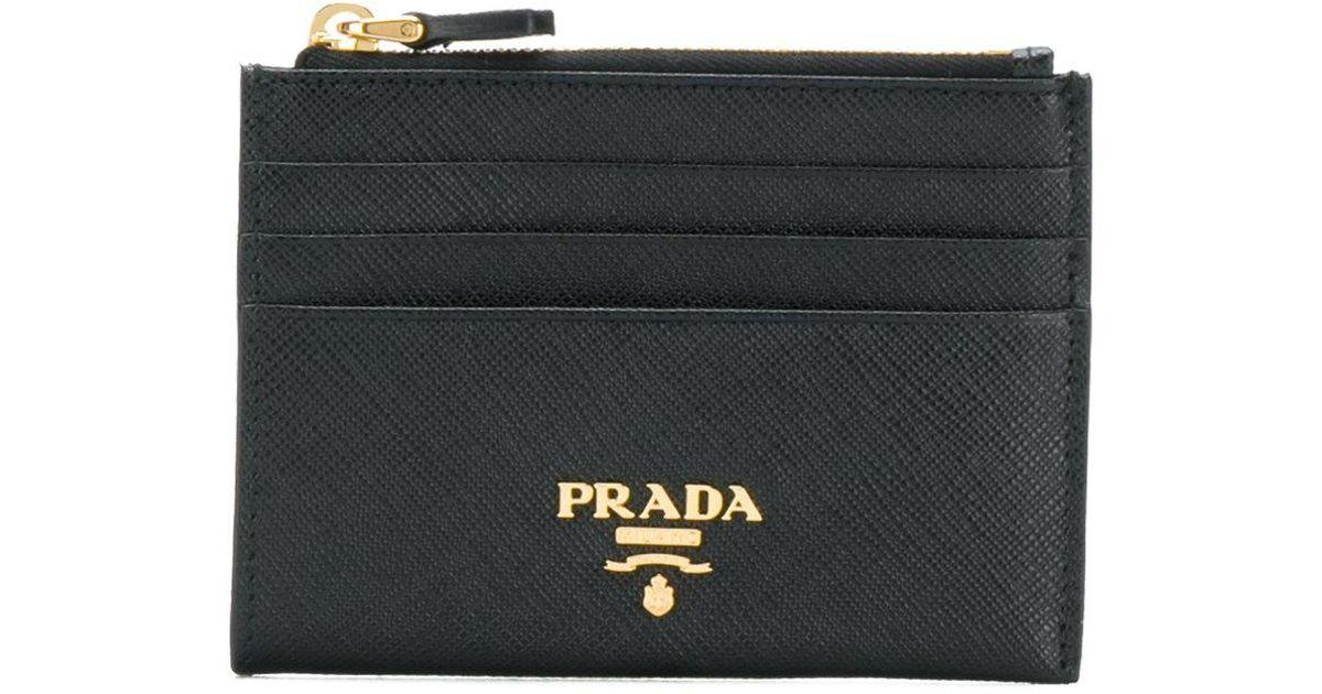 lyst prada saffiano zip cardholder in black - Zip Card Holder