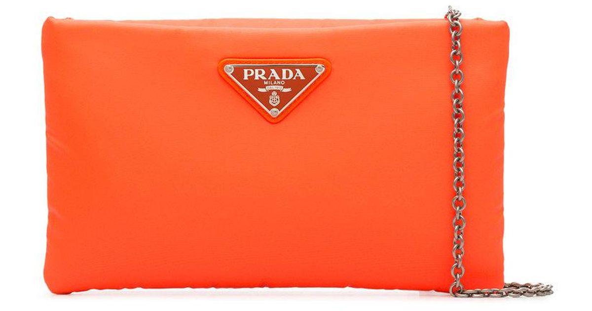 176a9c142ada0a ... usa lyst prada fluorescent orange clutch bag with chain in orange 24942  3a33e
