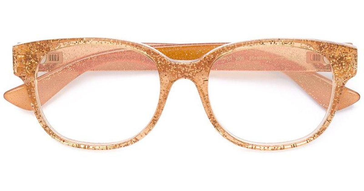 816c9fc7409 Lyst - Gucci Transparent Glitter Curved Glasses