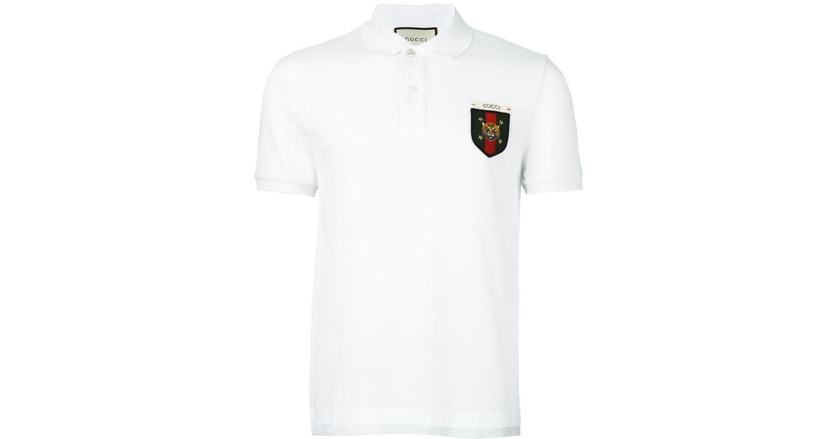 3f13d462a Gucci Web Tiger Crest Polo Shirt in White for Men - Lyst