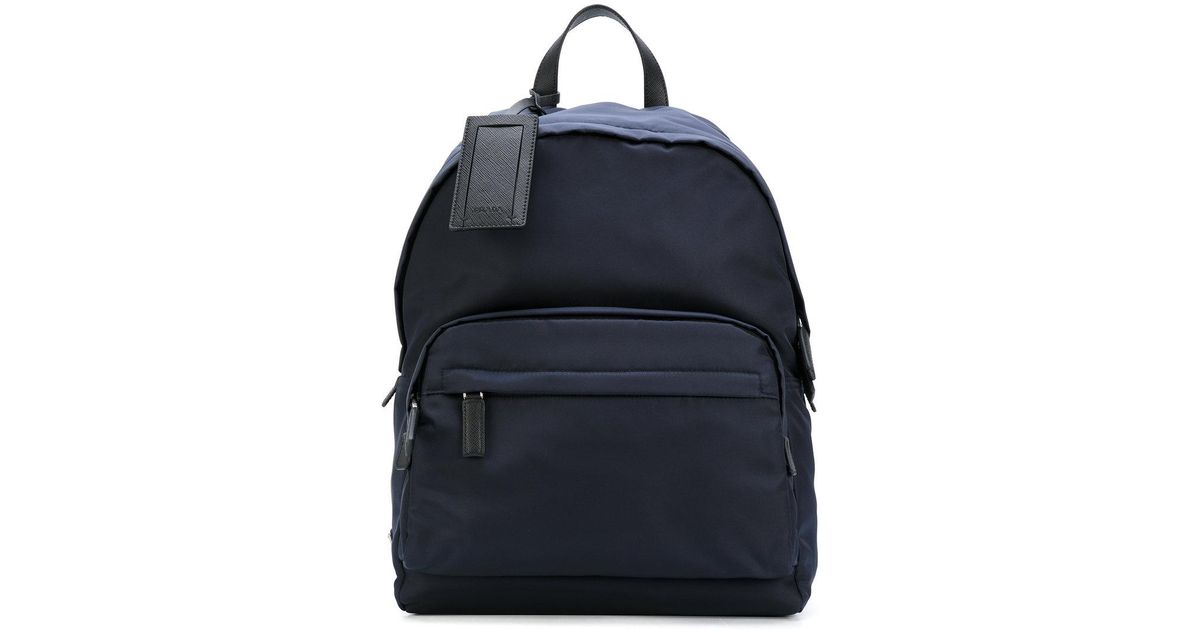 2a73f98e4bef ... cheap prada large zip backpack in blue for men lyst a1767 9e1d9
