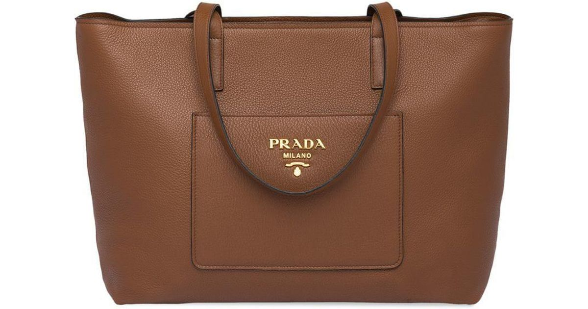 078394f32cc9 ... low cost lyst prada large tote bag in brown 4d26a a0682 ...
