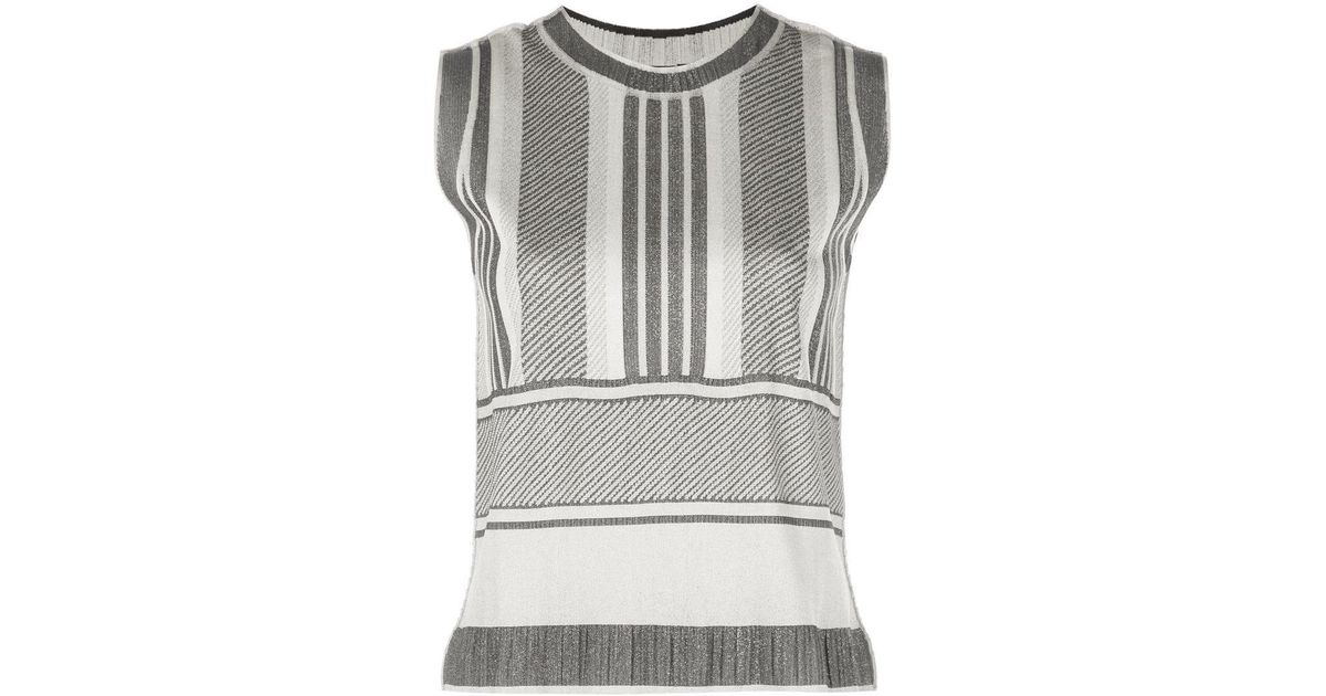 ef9b3bd156f57 Lyst - Pleats Please Issey Miyake Striped Sleeveless Top in Gray