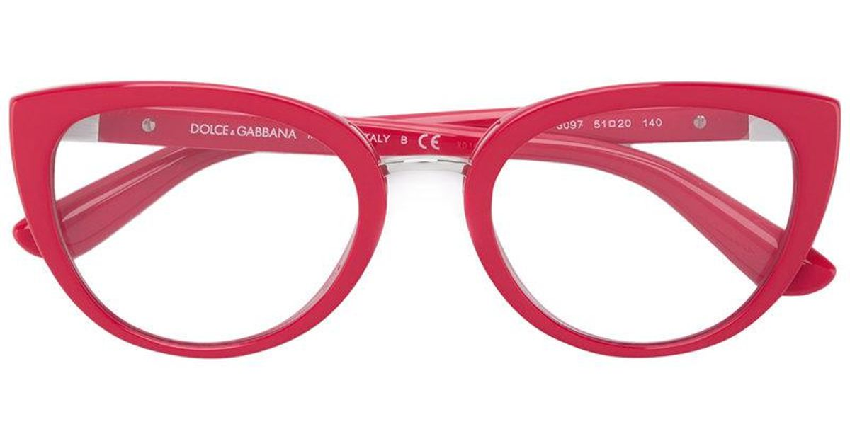 26cd2068d20 Dolce   Gabbana Oval Frame Glasses in Red - Lyst