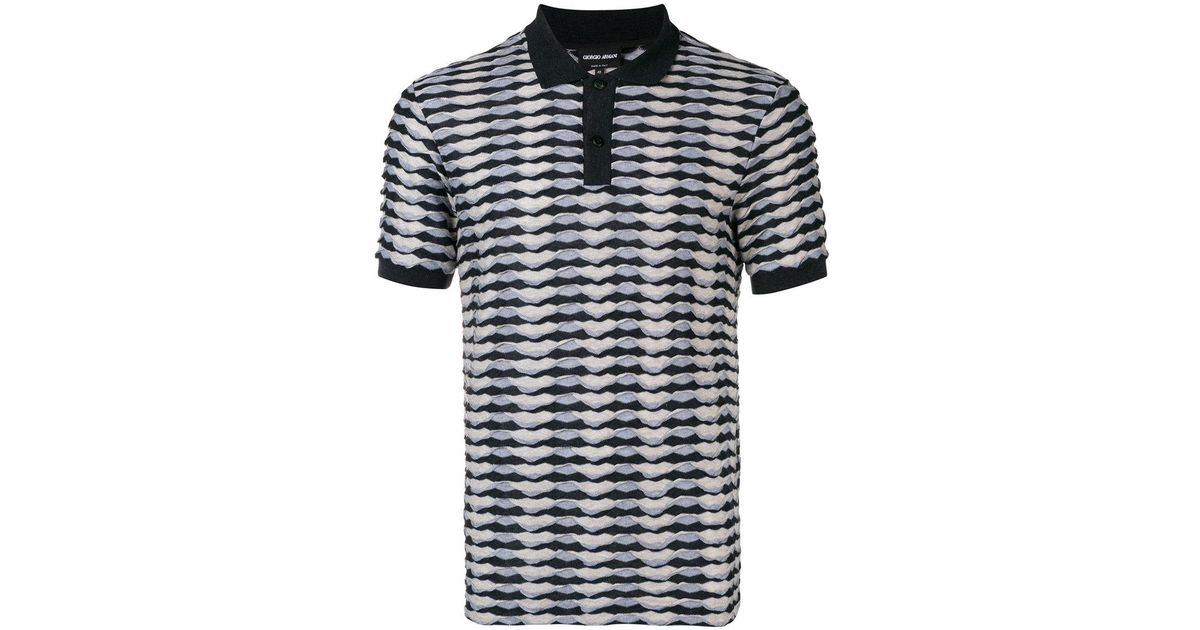 ca3871f4239dc Lyst - Giorgio Armani Abstract Print Polo Shirt in Blue for Men
