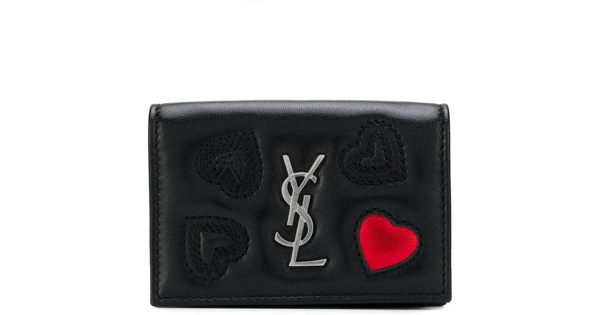 Saint Laurent Embroidered hearts wallet 3cX82srWkU