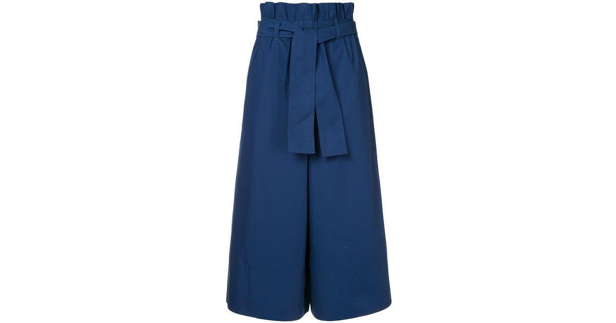 Lyst - Pantalones anchos de tela de traje Calvin Klein de color Azul 5f7667f5d3c3