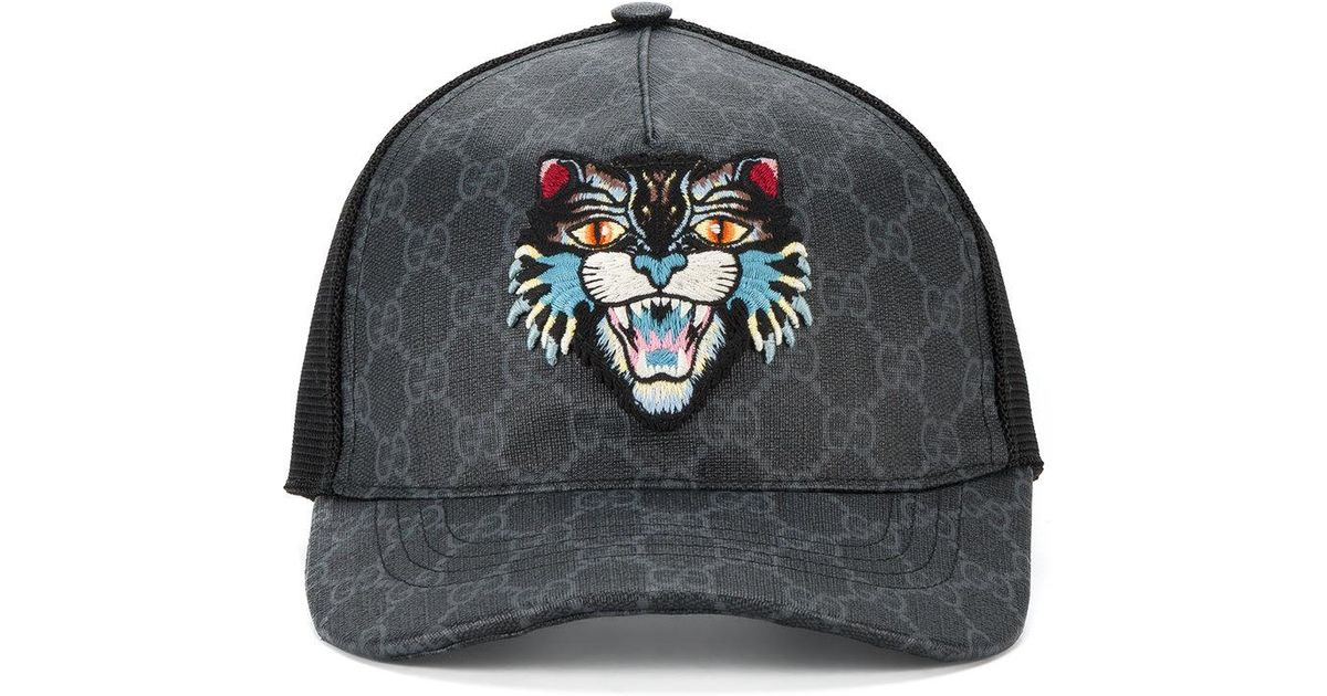 f4f7caecfff Lyst - Gucci Gg Supreme Angry Cat Baseball Cap in Black for Men