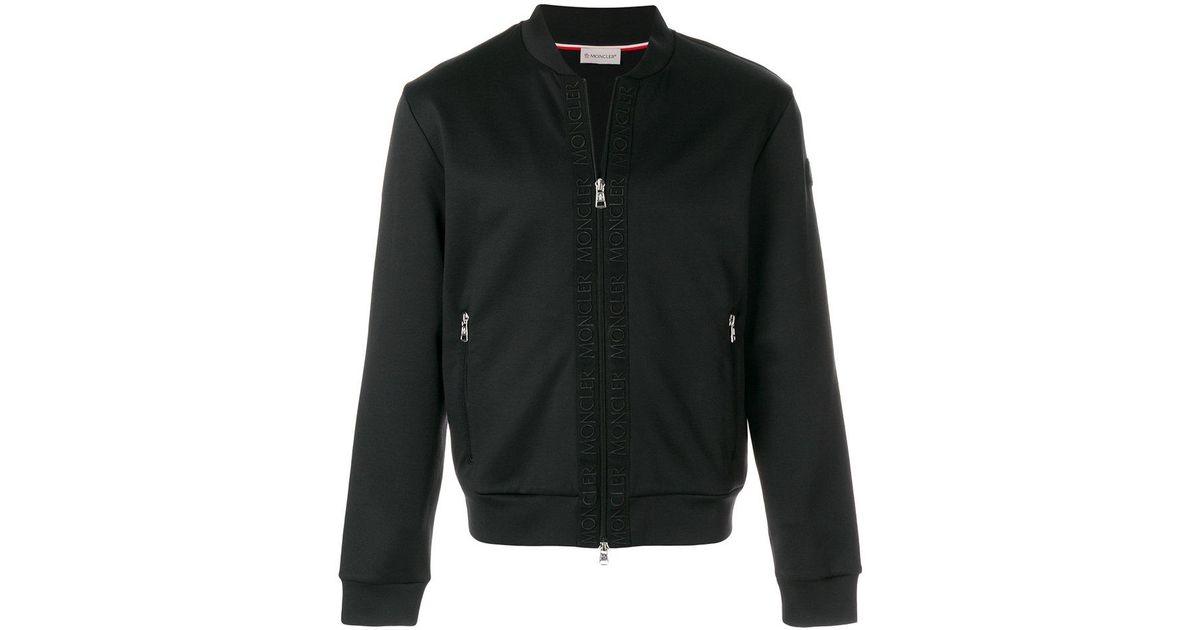 8de0bb0fd Moncler Logo Trim Bomber Jacket in Black for Men - Lyst