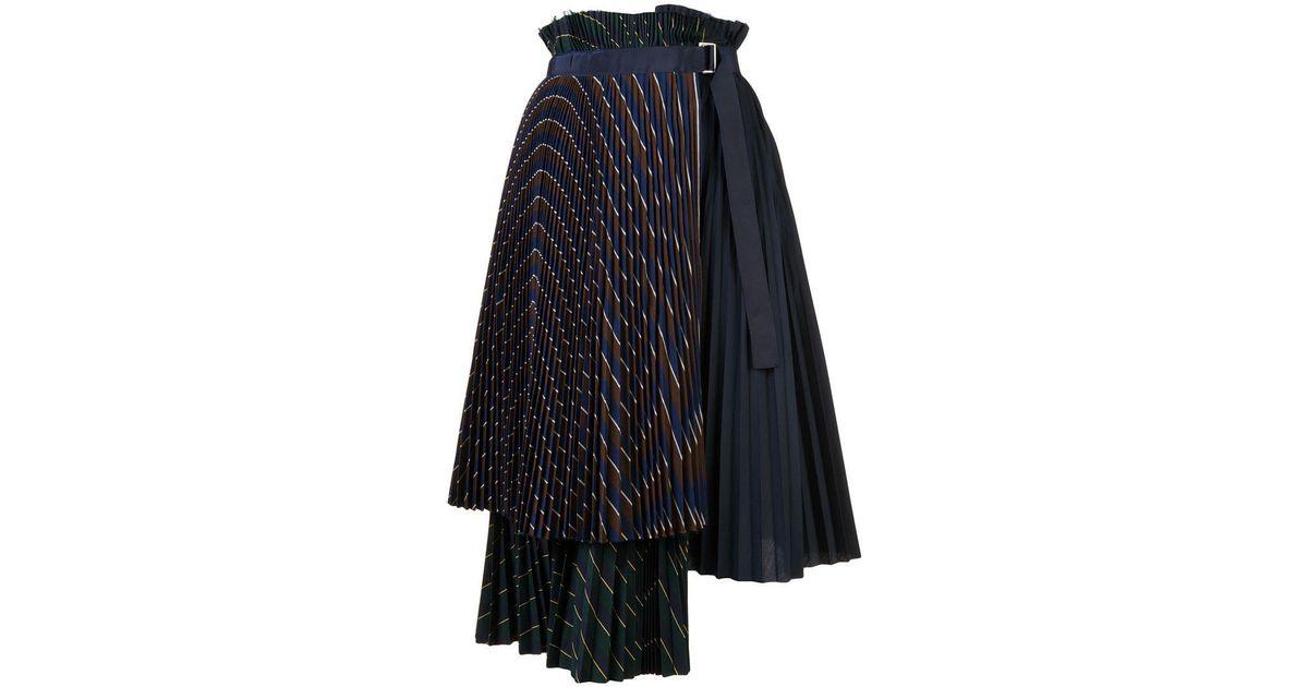 d600b2d44 Sacai Layered Pleated Midi Skirt in Blue - Lyst