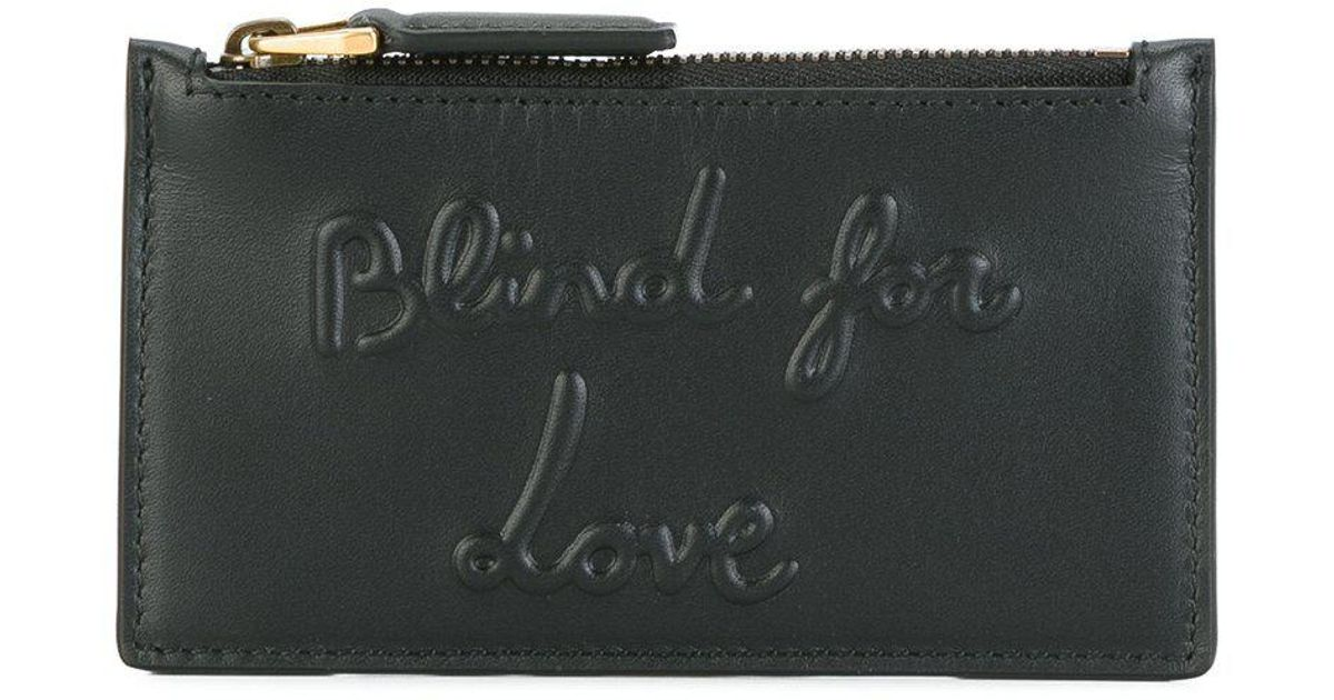 01f59554514ee Gucci Blind For Love Embossed Coin Pouch in Black for Men - Lyst