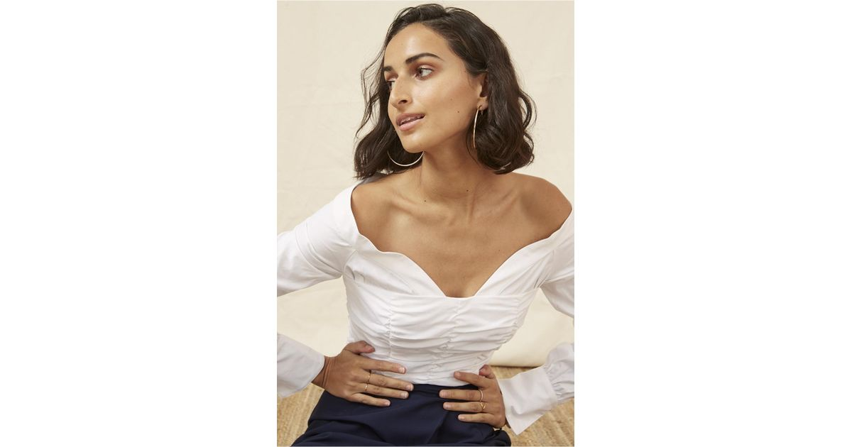 b4c7afd9e5a Finders Keepers Bailey Shirting Bodice in White - Lyst