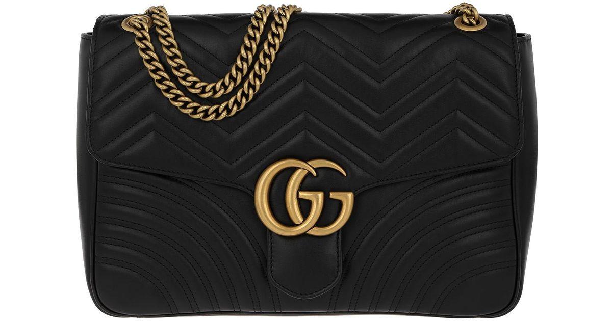 cf0039caffc Gucci Gg Marmont Large Shoulder Bag Leather Black in Black - Lyst