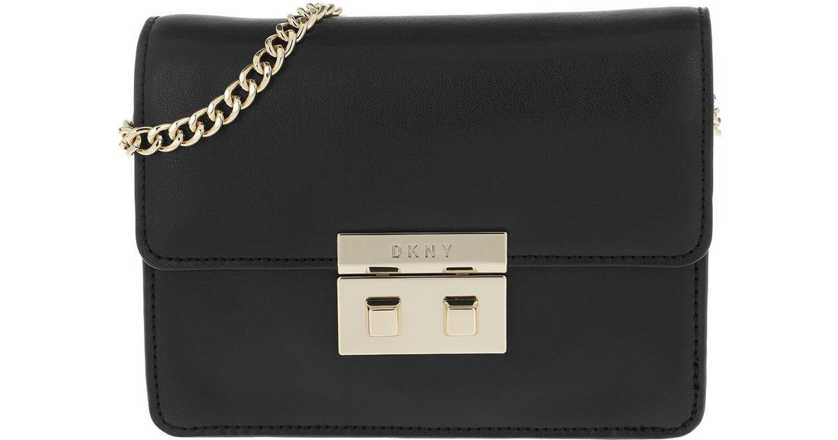 94377257b2ce90 DKNY Ann Sm Shoulder Flap Bag Black/gold in Black - Lyst