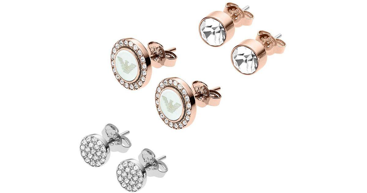 2018e4798 Emporio Armani Ladies Signature Earrings Set Silver/copper in Metallic -  Lyst