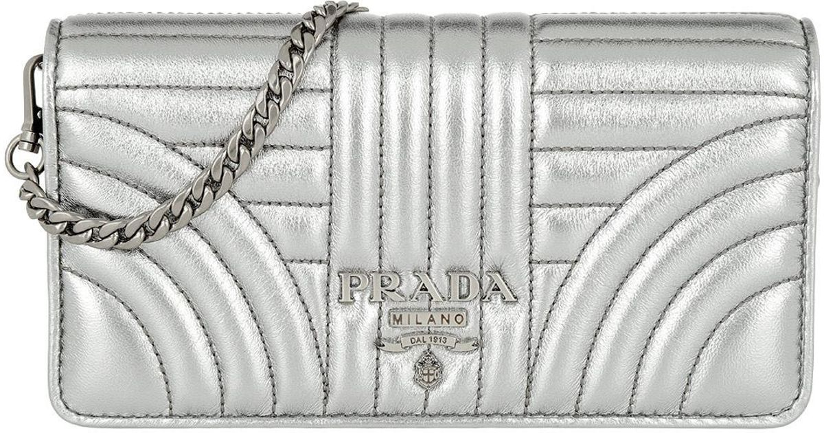 93f96fe761a4 Prada Bandoliera Mini Bag Leather Silver in Metallic - Lyst